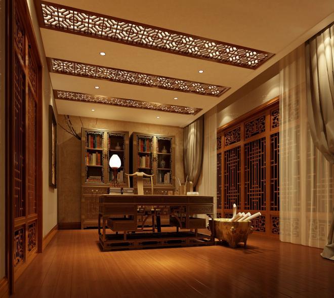 中式装修风格别墅效果图