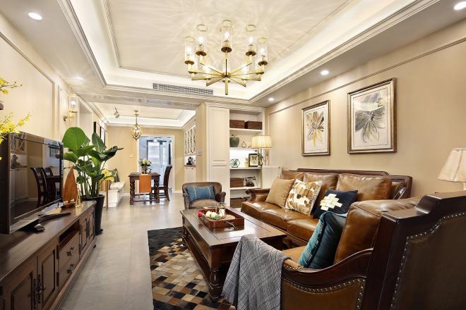 自然清晰美式风格 杭州三居客厅装修效果图