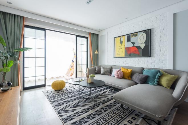 90平三居室北欧风格 淄博客厅装修效果图