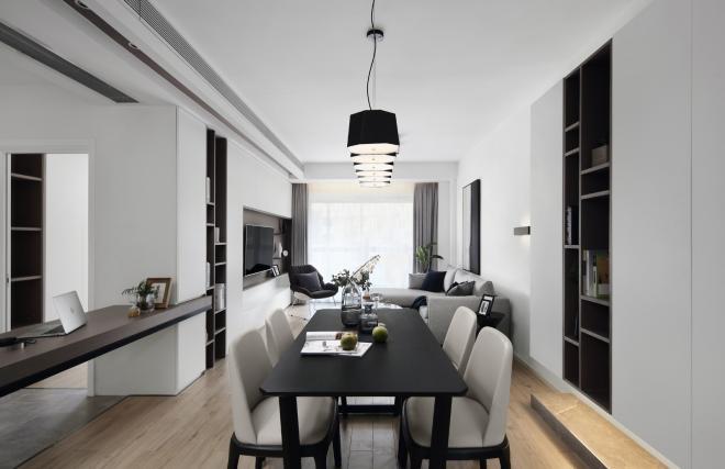 简单黑白色现代简约风格 淄博三居装修效果图