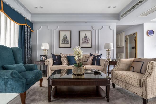 时髦轻奢美式风格 合肥三居装修效果图
