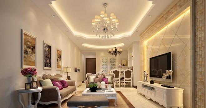 家装简欧风格客厅吊顶装修效果图