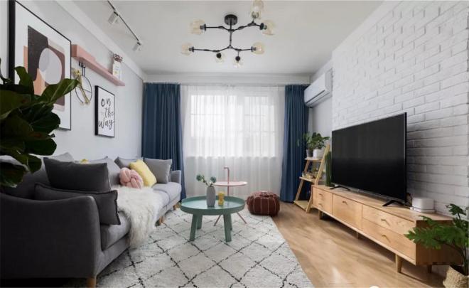 60平米两居室现代风格客厅装修效果图