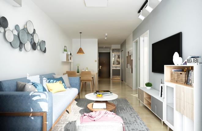 60平米简约风格两居室客厅装修效果图