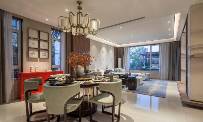 新中式别墅装修风格餐厅装修效果图片