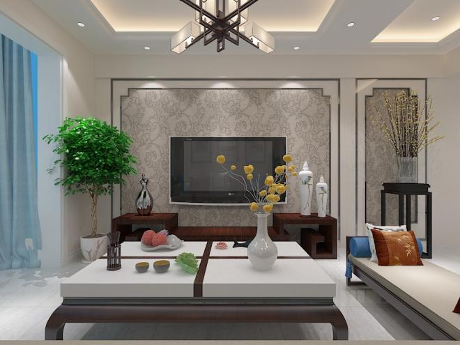 电视墙纸背景墙效果图新中式