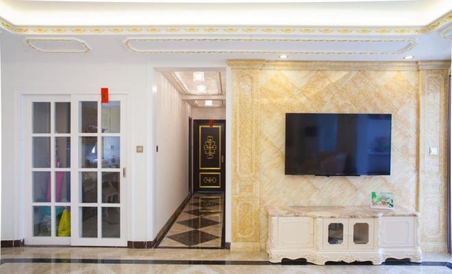 客厅大理石电视背景墙效果图