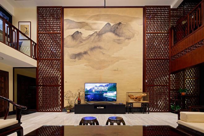 大户型中式装修电视背景墙效果图