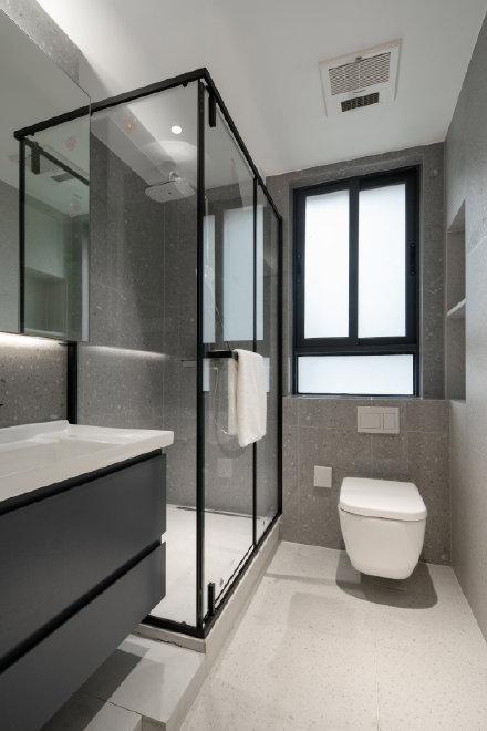 80平米简单莫兰迪蓝灰乐高式结构三居室装修效果图