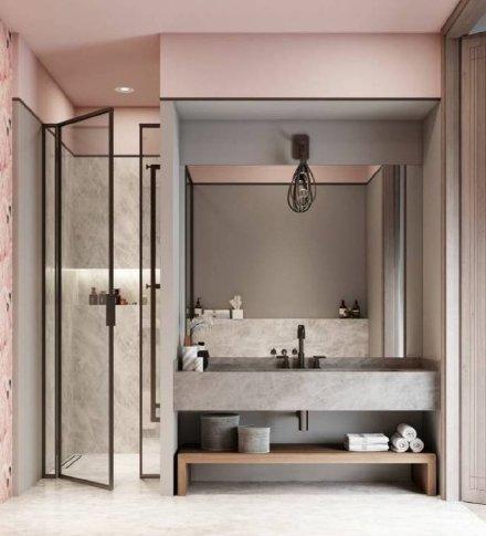 粉嫩的卫生间设计图