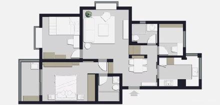 100㎡高级灰北欧风三居室装修效果图