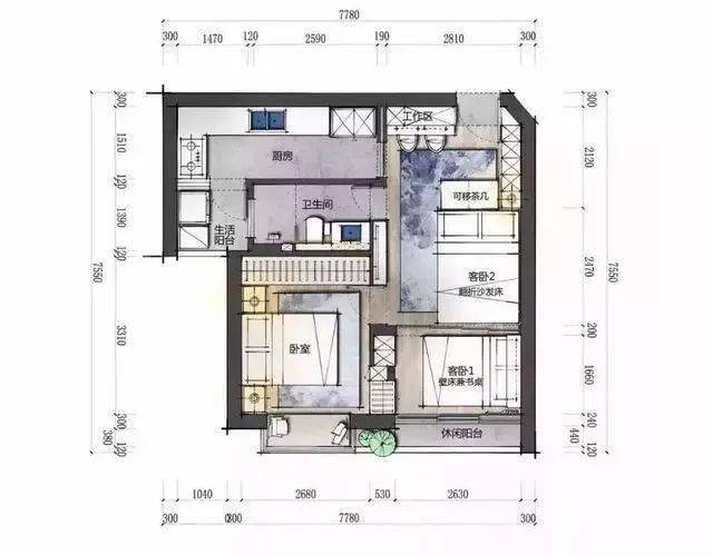 48㎡的简约风格小户型 家居装修效果图
