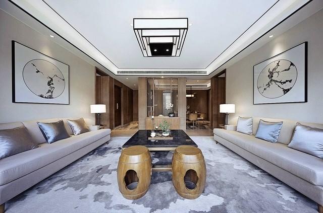 123平米三室两厅新中式古典风格装修效果图