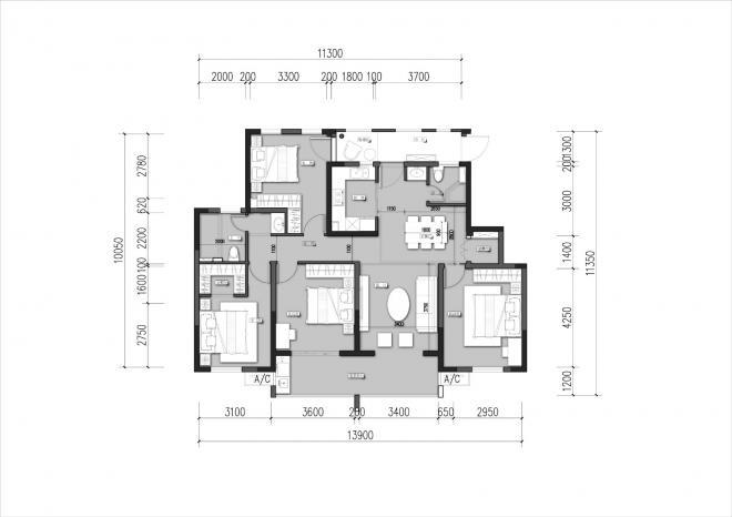 35万120平中式四室装修效果图