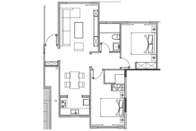 80平欧式两室装修效果图