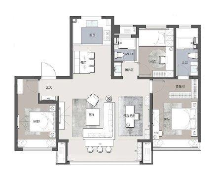 130㎡现代简约莫兰迪色家居设计效果图