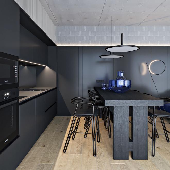 沧州黑蓝色调现代公寓装修效果图