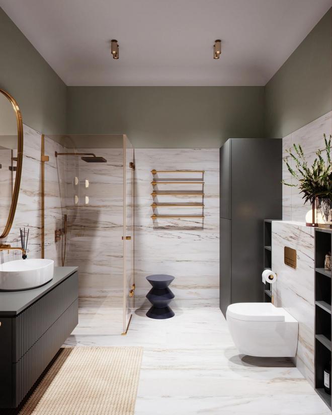 沧州48㎡小型公寓大理石风格装修效果图