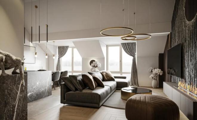 徐州轻奢私宅高级灰+黄铜装修效果图