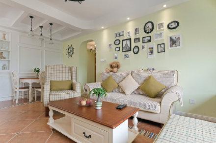 杭州89平米小清新美式风格两居室装修效果图