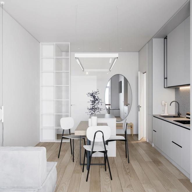 克拉玛依公寓白灰色系装修效果图
