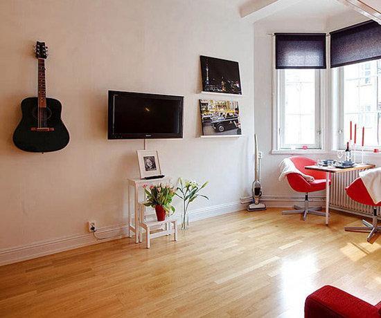 朔州21平米单身公寓红色系装修效果图