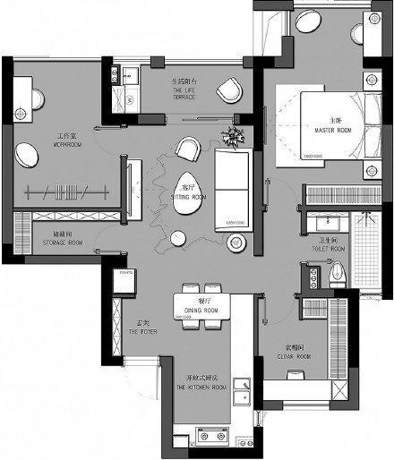 贵阳90㎡浪漫法式风格家居装修设计效果图