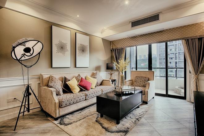 中山三居室现代美式风装修效果图