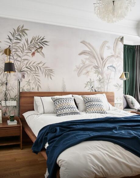 美式田園風120平三居室臥室裝修效果圖