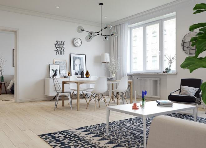 盐城公寓白色系北欧风装修效果图