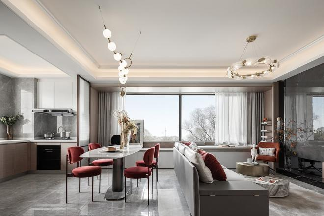 杭州萧山三居室现代轻奢风装修效果图