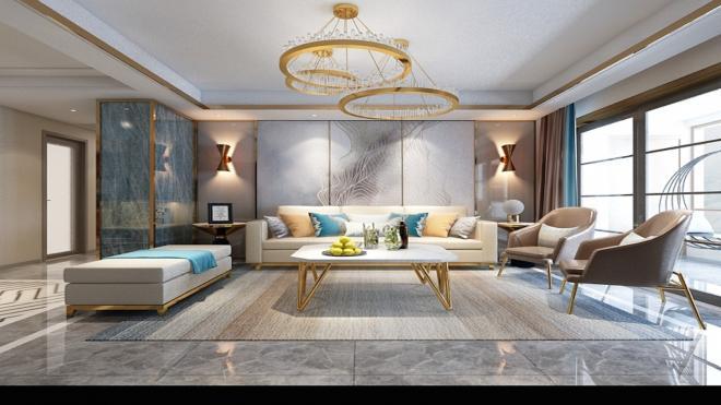 昆明两居室简约港式轻奢风室内装修效果图