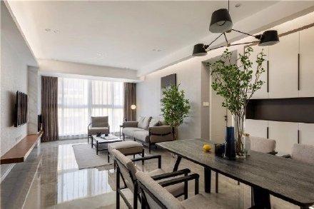 116平米灰色地面现代简约风格装修效果图 家居设计图