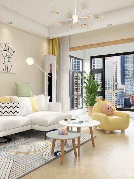 米黄色墙面异形木纹砖的装修设计图