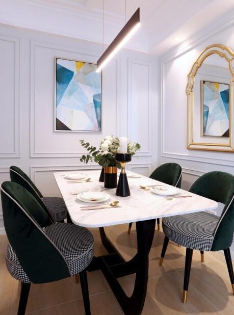 美式轻奢110平餐厅装修效果图