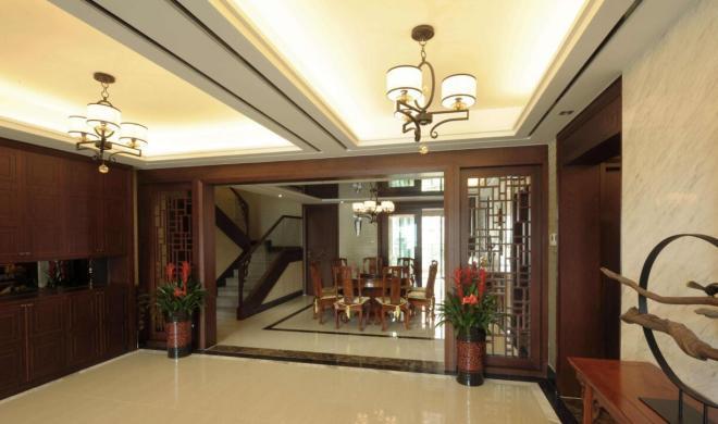 220平新中式別墅餐廳隔斷裝修效果圖 家居裝修設計圖片
