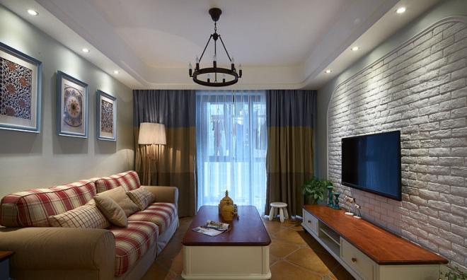 復古文藝范地中海風格客廳裝修大全 室內設計效果圖