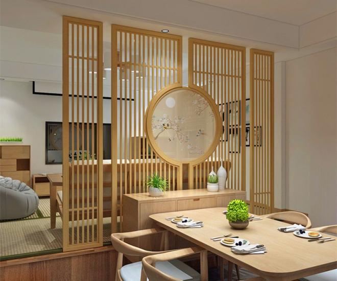 100平米新中式客廳玄關隔斷裝修效果圖 裝修效果圖