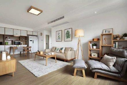 白色墙面搭配原木色的家具