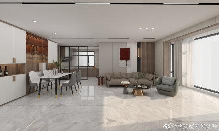 现代简约130平三居室装修效果图