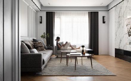 法式优雅的烟灰蓝效果图 室内外装修效果图