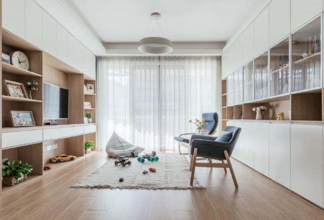 107㎡简约北欧风格住宅效果图 室内外装修效果图